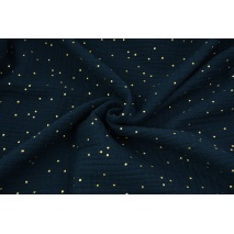 Double gauze 100% cotton golden dots on a navy background