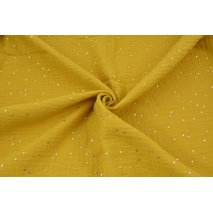 Double gauze 100% cotton golden dots on a mustard background