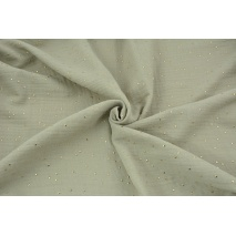 Double gauze 100% cotton golden dots on a chilly beige background