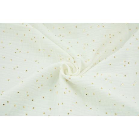 Double gauze 100% cotton golden dots on an ecru background