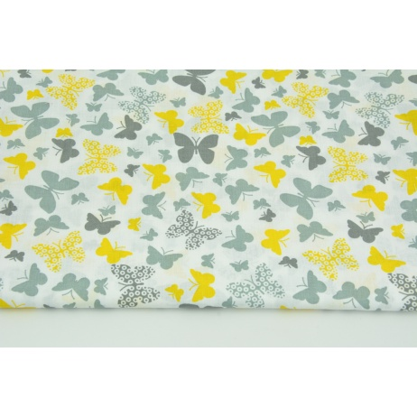 Cotton 100% yellow-gray butterflies on a white background
