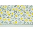 Bawełna 100% żółto-szare motylki na białym tle