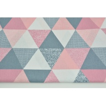 Cotton 100% triangles 9cm coral-gray