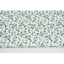Cotton 100% heather carnations with dark green leaves on a white background