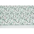 Bawełna 100% wrzosowe goździki z ciemnozielonymi listkami na białym tle