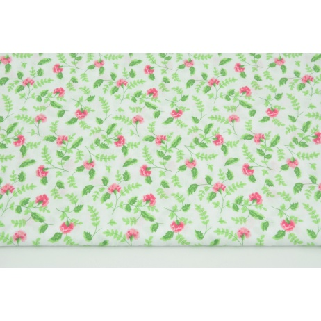 Cotton 100% pink carnations with light green leaves on a white background
