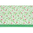 Bawełna 100% różowe goździki z jasnozielonymi listkami na białym tle