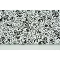 Bawełna 100% czarne łezki, kwiatki na białym tle