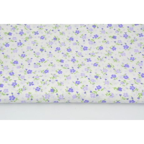 Cotton 100% small pink, yellow and blue flowers on a navy blue background