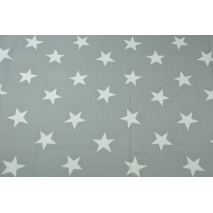 Home Decor, duże gwiazdy na szarym tle 220g/m2 BIEL OPTYCZNA