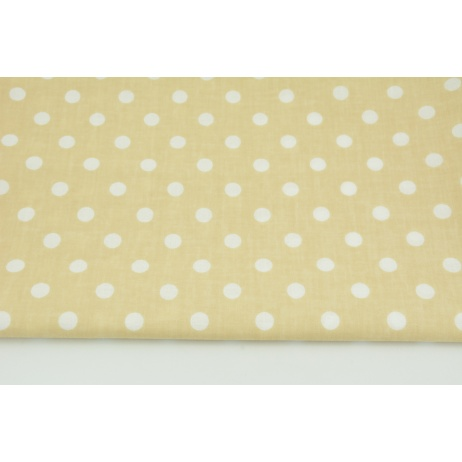 Cotton 100% polka dots 10mm on a beige background