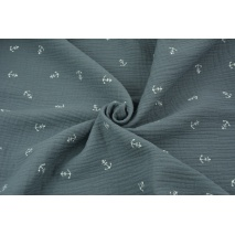 Double gauze 100% cotton, white anchors on a dark graphite background