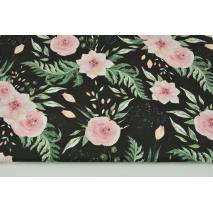 Bawełna 100% różowe dzikie kwiaty na czarnym tle