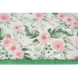 Tetra bawełniana, różowe dzikie kwiaty na białym tle