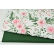 Cotton double gauze, tetra, pink wild blossom on a white background