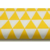 Bawełna 100% w żółte trójkąty na białym tle II jakość