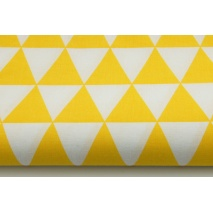 Cotton 100% yellow triangles on a wihite background II quality