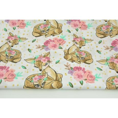 Bawełna 100% beżowe sarenki, kwiatki na białym tle