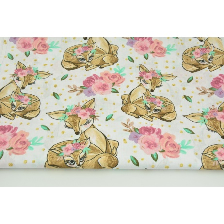 Cotton 100% beige deers, flowers on a white background