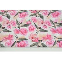 Bawełna 100% fuksjowe róże, jaskółki na białym tle