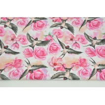 Cotton 100% fuchsia roses, swallows on a white background