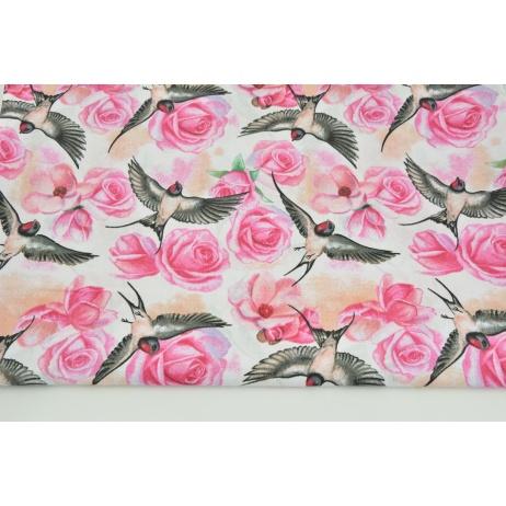 Cotton 100% fuchsia roses, swallows on a white background
