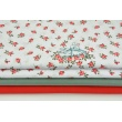 Cotton 100% bunnies among red roses on a white background R