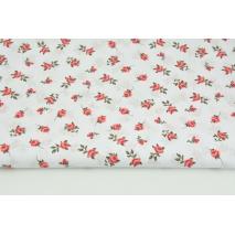 Bawełna 100% czerwone różyczki na białym tle R