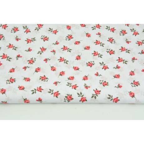 Cotton 100% red roses on a white background R
