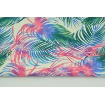 Cotton 100% colorful palm leaves on a cream background R