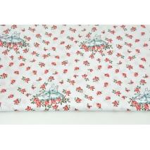 Bawełna 100% króliczki wśród czerwonych różyczek na białym tle R