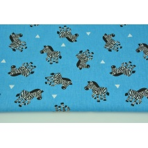 Cotton 100% zebras on a turquoise background