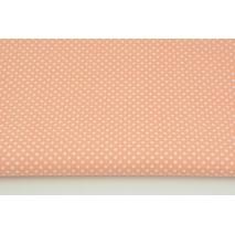 Bawełna 100% kropki 3mm na łososiowym tle
