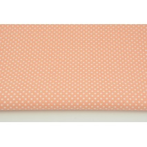 Cotton 100% white dots 3mm on a salmon background