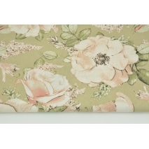 Cotton 100% large dirty pink flowers on a beige background