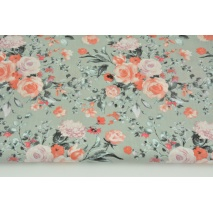 Cotton 100% salmon-heather bunch of flowers on a gray background