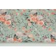 Bawełna 100% łososiowo-wrzosowe bukiety kwiatów na szarym tle