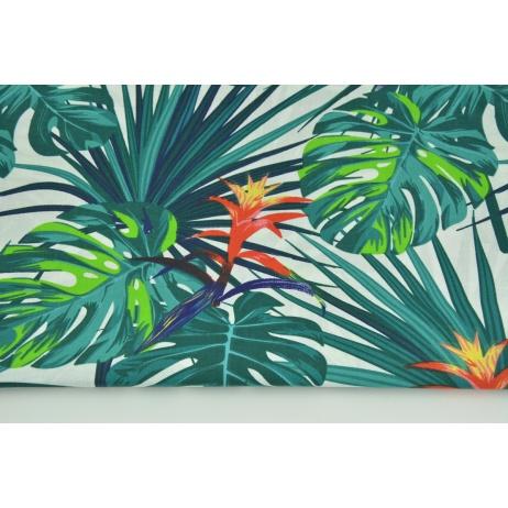 Bawełna 100% liście palmowe, morski turkus na białym tle