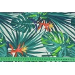 Cotton 100% palm leaves sea turquoise on a white background