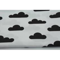 Bawełna 100% czarne chmurki na białym tle II jakość