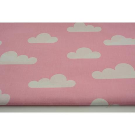 Bawełna 100% chmurki na różowym tle