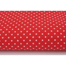 Bawełna 100%, kropki białe 2mm na czerwonym tle
