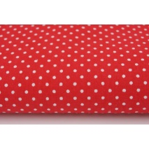 Cotton 100% white 2mm polka dots on a red background