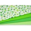 Bawełna 100% zielona koniczynka na białym tle