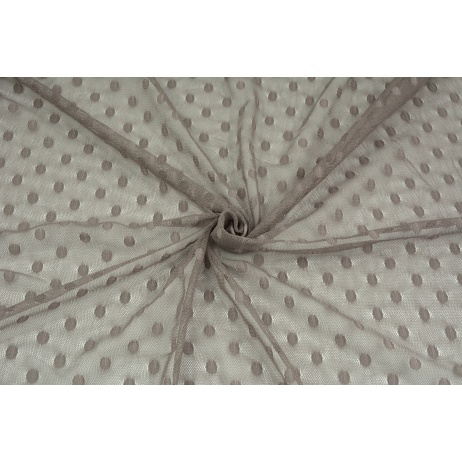 Soft tulle with dots, light brown