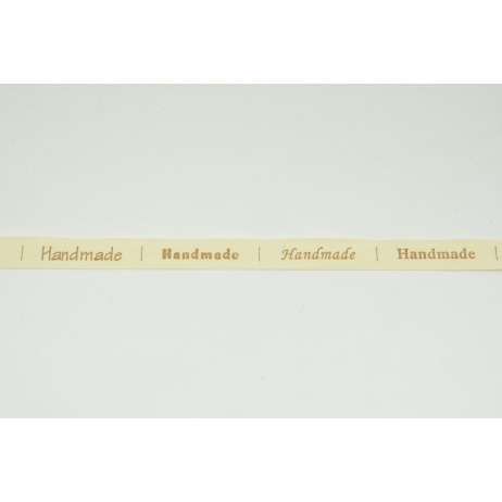 "Cotton ribbon with the words ""Hand Made"" 15mm NO 2"