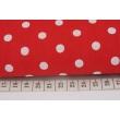Bawełna 100% kropki 7mm na czerwonym tle