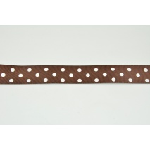Grosgrain ribbon with dots, brown 24mm