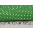 Bawełna 100% kropki białe 2mm na ciemnozielonym tle