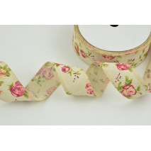 Cotton ribbon 40mm in a pattern of roses on natural background